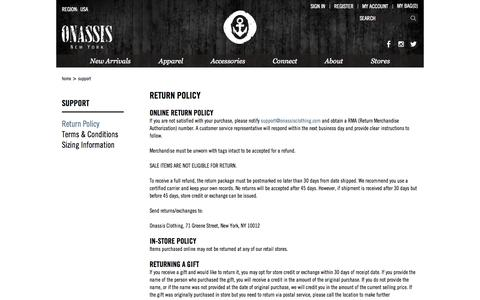 Screenshot of Support Page onassisclothing.com - Return Policy | Onassis Clothing - captured Oct. 26, 2014