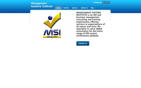 Screenshot of Home Page msiisos.com - Management Systems Institute - Home - captured Oct. 4, 2014