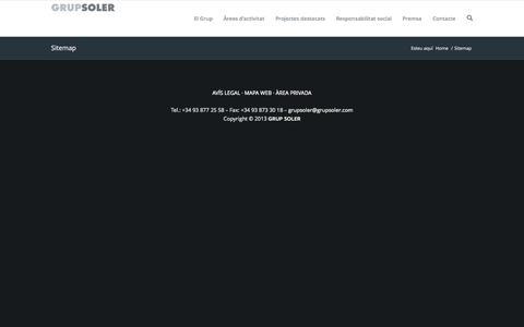Screenshot of Site Map Page grupsoler.com - Grup Soler | Grup Soler · Sitemap · Facilities services - captured Sept. 27, 2014