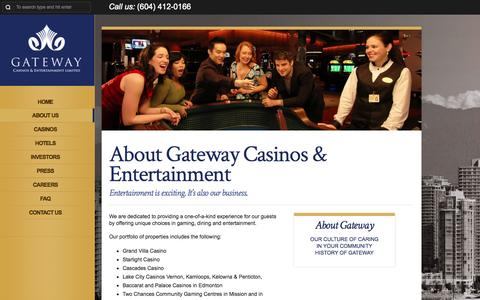 Screenshot of About Page gatewaycasinos.com - About Gateway Casinos & Entertainment | http://www.gatewaycasinos.com - captured Oct. 2, 2014