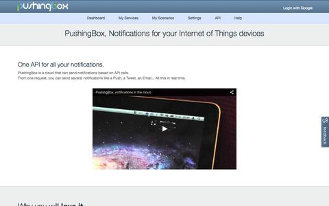 Screenshot of Home Page pushingbox.com - PushingBox - Notifications for your Internet of Things devices - captured Jan. 28, 2015