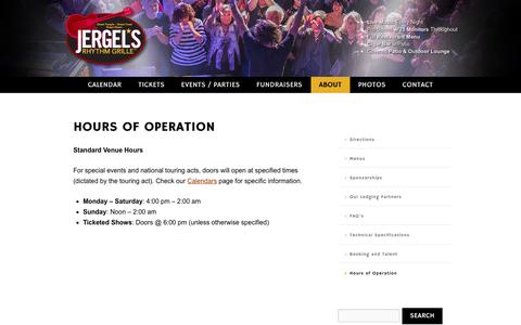 Screenshot of Hours Page jergels.com - Hours of Operation - Jergel's Rhythm Grille - captured Oct. 9, 2016