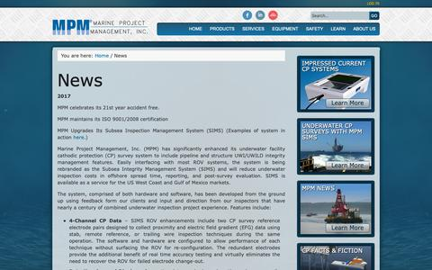 Screenshot of Press Page mpmi.com - MPM in the News - Designing and installing CP systems    Marine Project Management, Inc - captured Oct. 2, 2018