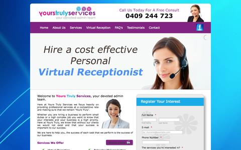 Screenshot of Home Page yourstrulyservices.com.au - Virtual Reception - Telesales -  Virtual Assistant - captured Sept. 30, 2014