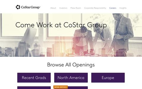 Screenshot of Jobs Page costargroup.com - Careers | CoStar Group - captured Aug. 17, 2018