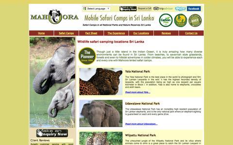 Screenshot of Locations Page mahoora.lk - Mahoora - Best Wildlife Accommodation , Safari Camps Sri Lanka - captured Oct. 4, 2014