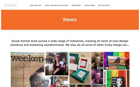 Screenshot of Press Page drunkanimal.com - News | Drunk Animal Design & Marketing, Branding, PR Web Design, Graphic Design - Hull - captured Jan. 4, 2017