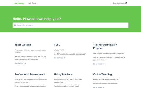 Screenshot of FAQ Page teachaway.com - Help Center - captured Sept. 28, 2019