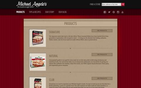 Screenshot of Products Page michaelangelos.com - Enjoy Delicious Italian Frozen Dinners | Michael Angelo's Foods - captured Nov. 4, 2014