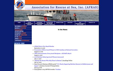 Screenshot of Press Page afras.org - Association for Rescue at Sea, Inc. - In The News - captured Nov. 19, 2016