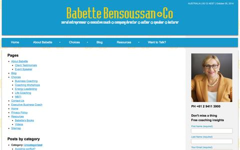 Screenshot of Site Map Page babettebensoussan.com - Sitemap | Babette Bensoussan + Co - captured Oct. 5, 2014