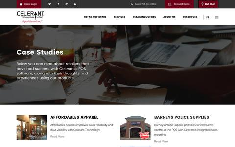 Screenshot of Case Studies Page celerant.com - Point of Sale Case Studies - Celerant Technology - captured March 23, 2017