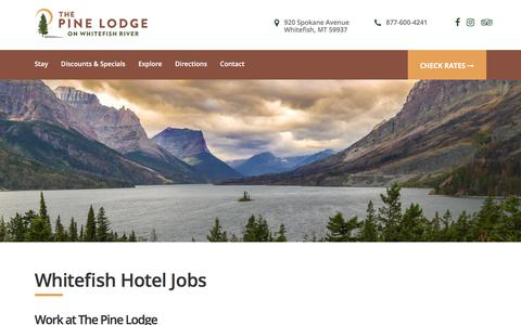 Screenshot of Jobs Page thepinelodge.com - Pine Lodge Jobs | Jobs in Whitefish, Montana | Whitefish, MT Jobs - captured Sept. 21, 2018