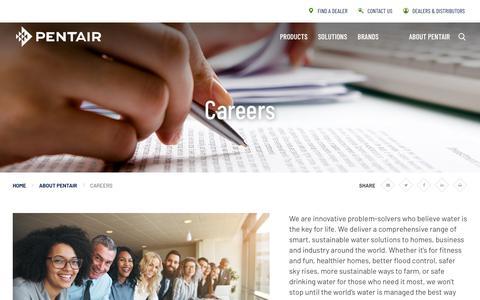 Screenshot of Jobs Page pentair.com - Careers   About Pentair   Pentair - captured Aug. 29, 2019