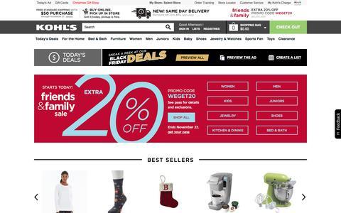 Screenshot of Home Page kohls.com - Kohl's | Shop Clothing, Shoes, Home, Kitchen, Bedding, Toys & More - captured Nov. 20, 2015