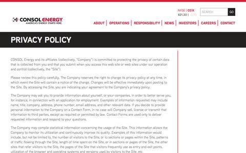 Screenshot of Privacy Page consolenergy.com - Governance | CONSOL Energy Inc. - captured Dec. 2, 2017