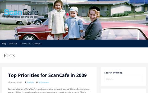 Screenshot of Blog scancafe.com - Top Priorities for ScanCafe in 2009 | New Year's resolutions - captured March 1, 2018