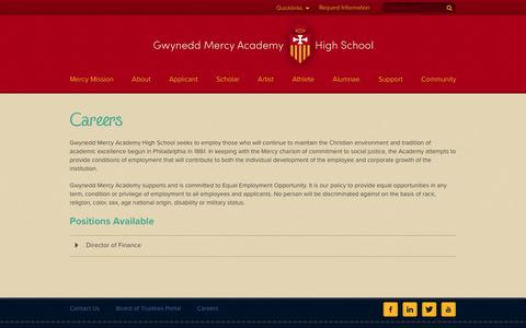 Screenshot of Jobs Page gmahs.org - Contact Us - Gwynedd Mercy Academy High School - captured Nov. 17, 2016