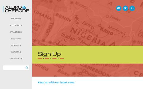 Screenshot of Signup Page aluko-oyebode.com - Sign Up - Aluko & Oyebode - captured Nov. 6, 2018