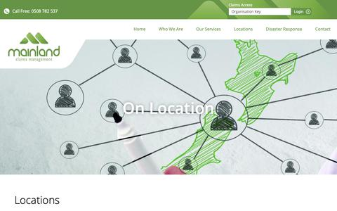 Screenshot of Locations Page mainlandclaims.co.nz - Claims Management Services | Loss Adjusting | Locations  » Mainland Claims - captured Oct. 2, 2018