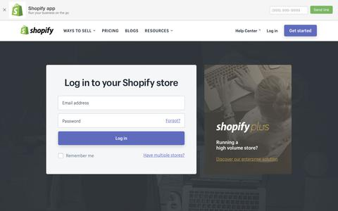Screenshot of Login Page shopify.com - Login — Shopify - captured June 7, 2017