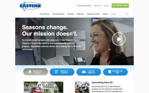 Screenshot of Home Page eastern.com - Propane Distributors | Propane Gas Dealers | Propane Providers | Eastern Propane - captured Oct. 1, 2014