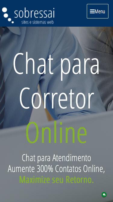 Screenshot of Home Page  sobressai.com.br - Sobressai - Sites para imobiliárias ou Corretores de Imóveis com CRM Imobiliário