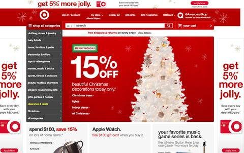 Screenshot of Home Page target.com - Target : Expect More. Pay Less. - captured Dec. 7, 2015