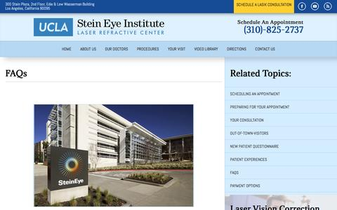 Screenshot of FAQ Page uclaser.com - Eye Care Questions | UCLA Laser Refractive Center - captured Nov. 18, 2016