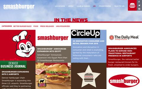 Screenshot of Press Page smashburger.com - In The News - Smashburger - captured Nov. 18, 2015