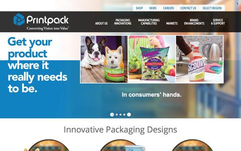 Screenshot of Home Page printpack.com - Flexible Packaging Company | Flexible & Rigid Packaging : Printpack - captured July 24, 2015