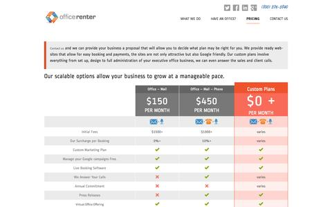 Screenshot of Pricing Page officerenter.com - Pricing | Office Renter - captured Oct. 27, 2014
