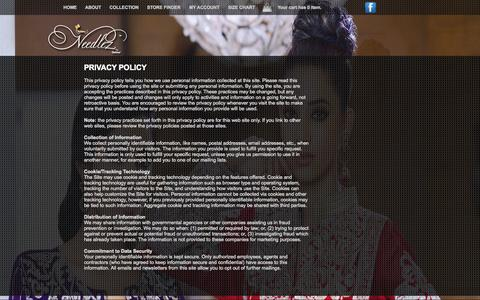 Screenshot of Privacy Page needlezbyshalimar.com - Needlez by Shalimar :: Designer Embroidered Fabric in Pakistan : Privacy Policy - captured Sept. 19, 2014