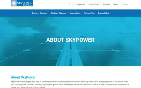 Screenshot of About Page skypower.com - SkyPower Global - Generating a Brighter Future  | About - captured Jan. 24, 2016