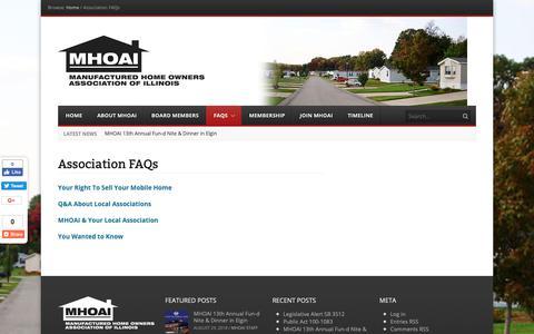 Screenshot of FAQ Page mhoai.org - Association FAQs - MHOAI - captured Nov. 1, 2018