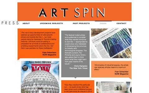 Screenshot of Press Page artspin.ca - Press - captured July 30, 2018