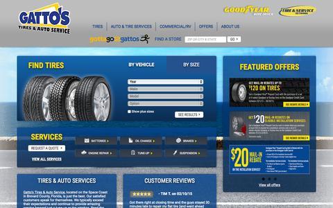 Screenshot of Home Page gattos.com - Gatto's Tires & Auto Service   Tires & Auto Repair Shop Florida - captured June 18, 2015