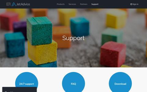 Screenshot of Support Page jetadvice.com - Support - JetAdvice - captured Sept. 20, 2018