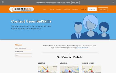 Screenshot of Contact Page essentialskillz.com - Contact Details | Health and Safety eLearning - captured Dec. 12, 2015