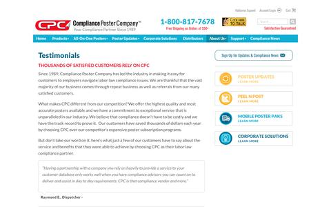Screenshot of Testimonials Page complianceposter.com - Testimonials - Compliance Poster Company - captured Aug. 20, 2017