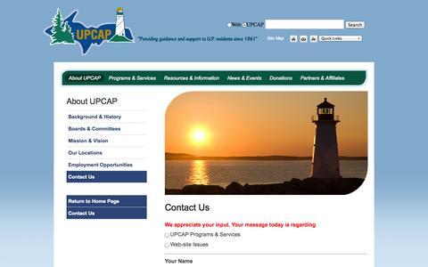 Screenshot of Contact Page upcap.org - UPCAP : About UPCAP : Contact Us - captured Sept. 30, 2014