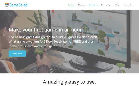 Screenshot of Developers Page gamesalad.com - Developers – GameSalad - captured July 12, 2018