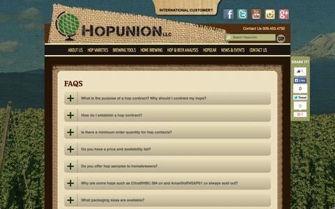 Screenshot of FAQ Page hopunion.com - FAQs ~ Hopunion - captured Sept. 22, 2014