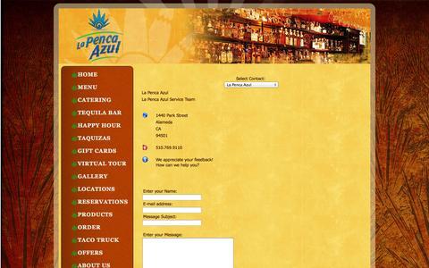 Screenshot of Contact Page lapencaazul.com - La Penca Azul - captured Oct. 1, 2014