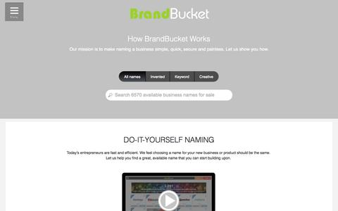 Screenshot of About Page brandbucket.com - How BrandBucket Works: DIY Business Naming - captured Oct. 22, 2014
