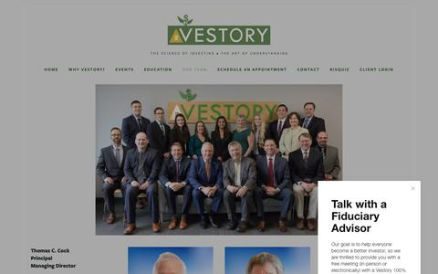 Screenshot of Team Page vestory.com - Our Team — Vestory Seattle and Bellevue Fee-Only Investment Advisor - captured Nov. 18, 2018