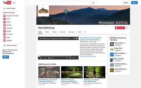 Screenshot of YouTube Page youtube.com - Visit Gatlinburg  - YouTube - captured Oct. 22, 2014