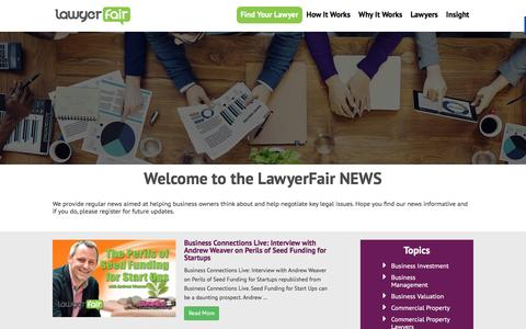 Screenshot of Press Page lawyerfair.co.uk - News - LawyerFair: Find The Best Lawyers for Your Business! We compare lawyers & costs. You save time & money. - captured Dec. 8, 2015