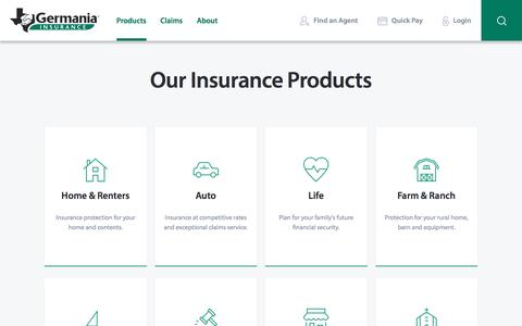 Screenshot of Products Page germaniainsurance.com - Insurance Coverage - Get Quotes & Rates | Germania Insurance - captured April 15, 2017