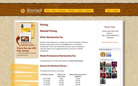 Screenshot of Pricing Page storiad.com - Pricing » Storiad - captured Oct. 9, 2014